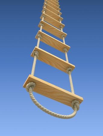 グラデーションの青空をバックに木製のロープのはしご