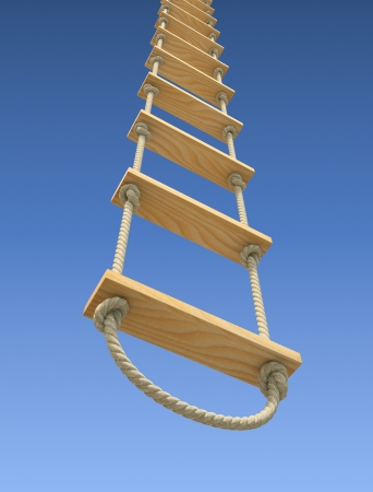 survive: Wooden rope ladder on a gradient blue sky background