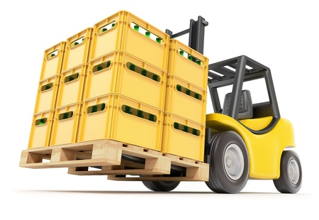cold storage: Forklift with drink crates