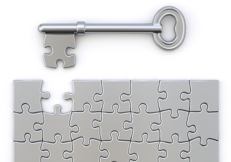 Key with puzzle Stock Photo - 19296237