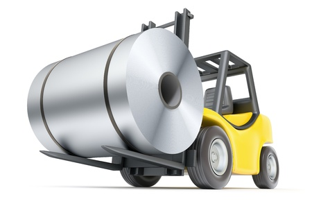 Forklift with rolls of steel sheet