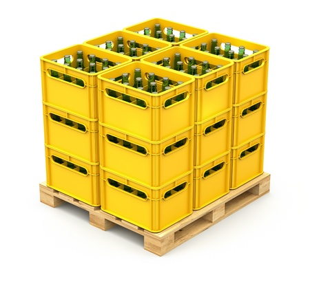 beer bottle: Drink crates on the wooden pallet Stock Photo