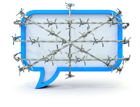 civil rights: Barbed speech bubble Stock Photo