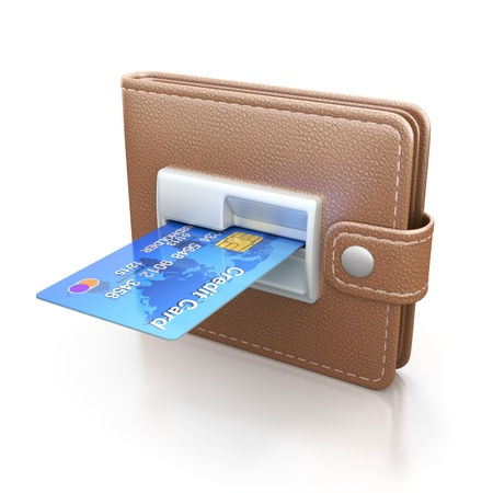bankomat: ATM cash point slot in the wallet