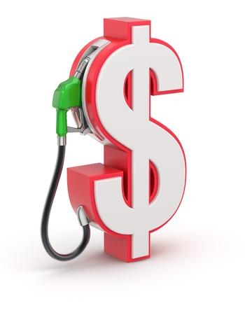 bomba de gasolina: Signo de dólar con la boquilla de gas