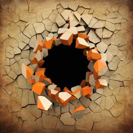 古いグランジ壁の破壊