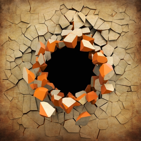 hole in wall: Destruction of a old grunge wall Stock Photo