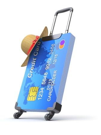 turismo: Maleta con tarjetas de crédito y el sombrero