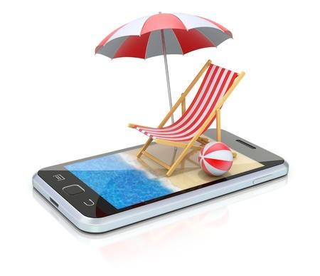 Beach in the smartphone