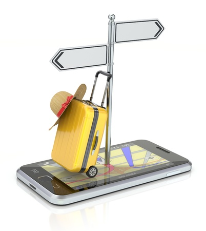Travel concept with smartphone, yellow, case and abstract GPS map
