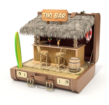 tiki party: Tiki bar in the case