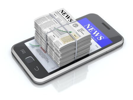 pile of newspapers: Smartphone and newspapers