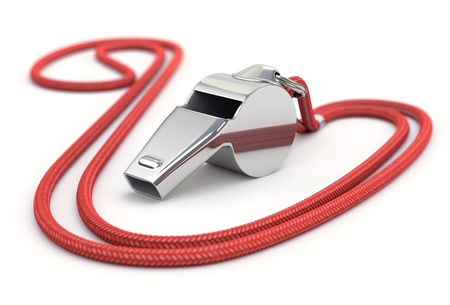Whistle with red cord