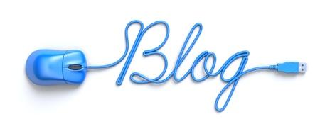 青いマウスと単語ブログの形をしたケーブル 写真素材
