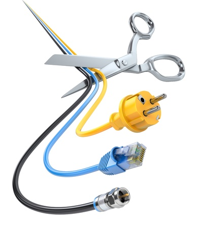 Scissors cutting cables Banque d'images