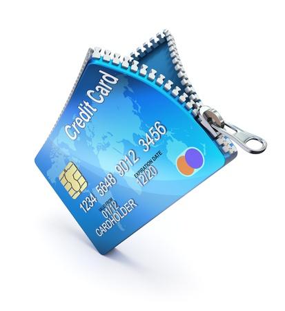 ジッパー付きクレジット カード 写真素材