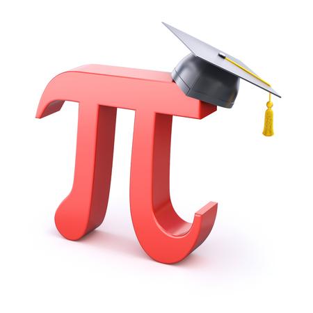 trigonometry: Pi symbol with graduation cap Stock Photo
