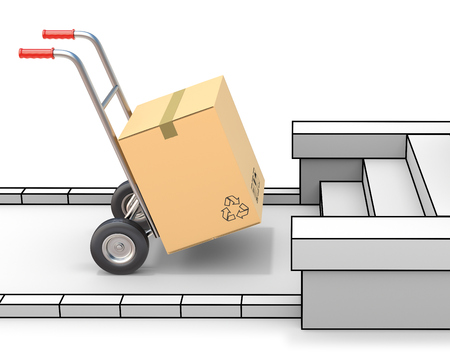 order shipment: Delivery concept with hand truck and freestyle environment Stock Photo