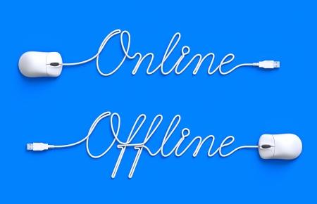 オンラインとオフライン 写真素材
