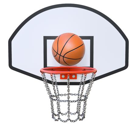 Street basketball kit with backboard, hoop, chain net and ball photo