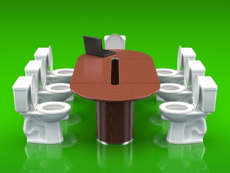 tiresome: Conference room - 3D concept with toilet bowl, conference table and notebook Stock Photo