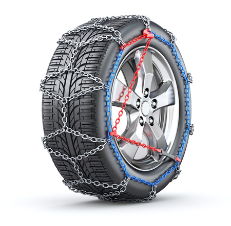 car tire: Tire with snow chain