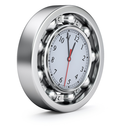 bearing: Time concept with the clock in the ball bearing