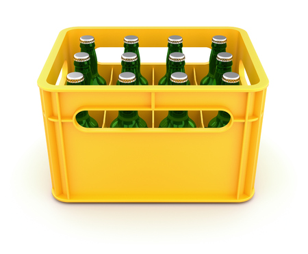Drink crate with beer bottles Stock Photo