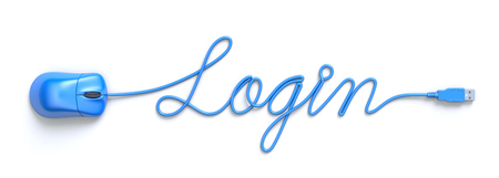 e business: Login concept with red mouse and cable in the shape of login word