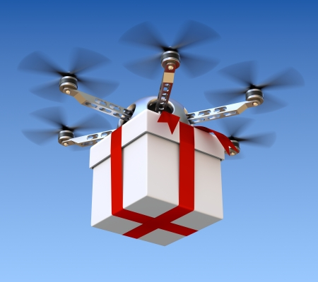 Drone with white gift box over sky