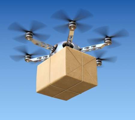 package delivery: Delivery drone with post package