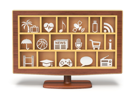 Smart TV - 3D concept with TV shelf photo