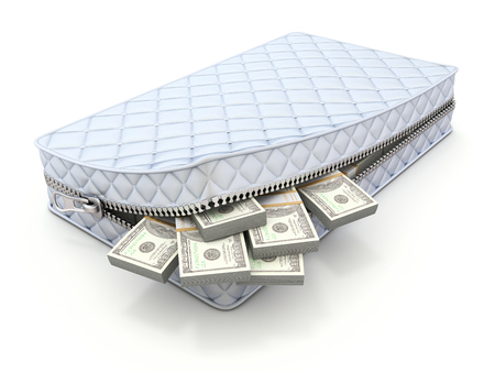 Money in the mattress - 3D savings concept Archivio Fotografico