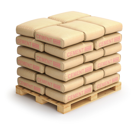 Cement sacks on wooden pallet Stock Photo
