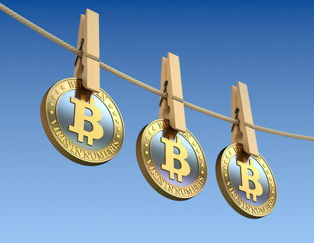 clothespin: Bitcoins  with wooden clothespin