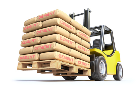 Forklift with cement sacks Stockfoto