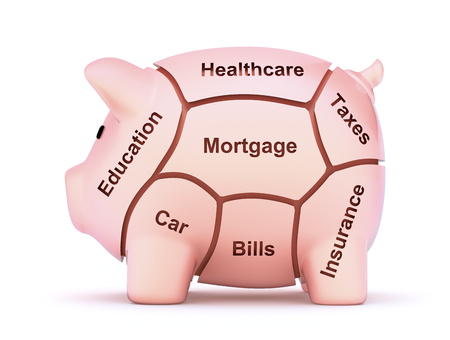 bank protection: Cuts of savings - 3D cuts of pork concept