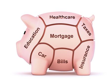 hypothec: Cuts of savings - 3D cuts of pork concept