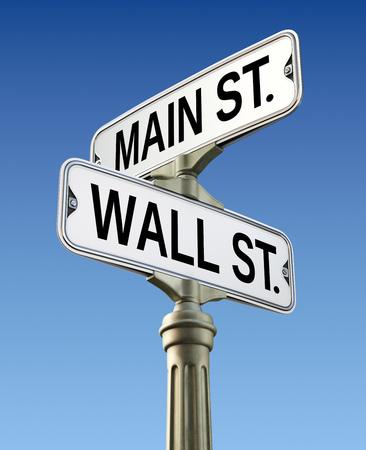 main street: Retro street sign with Wall street and Main street
