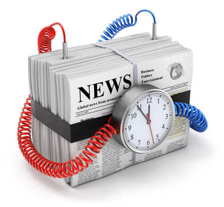 time bomb: 3D time bomb concept with pile of newspapers with lorem ipsum text  Stock Photo