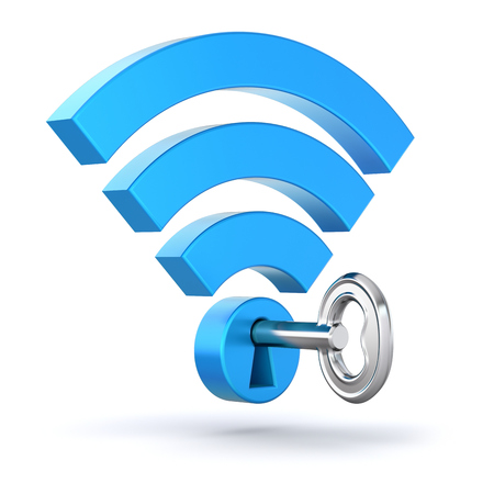 mobile security: WiFi concept with wifi symbol and the key Stock Photo