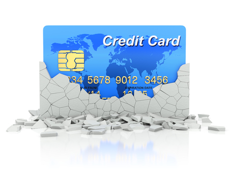 Credit card under collapsed wall