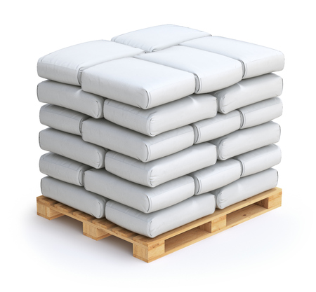 sacks: White sacks on wooden pallet Stock Photo