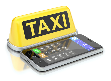 yellow taxi: Taxi sign and mobile