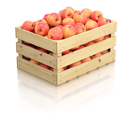 container box: Red apples in the wooden crate