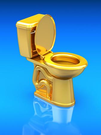 toilet seat: Golden toilet bowl