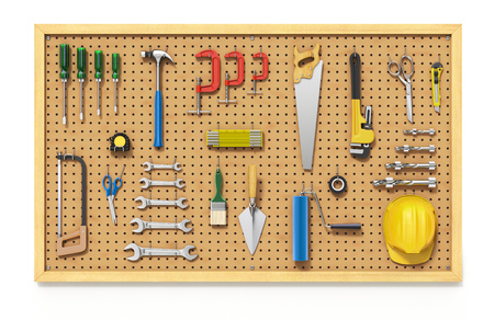 Tools on a Pegboard Archivio Fotografico