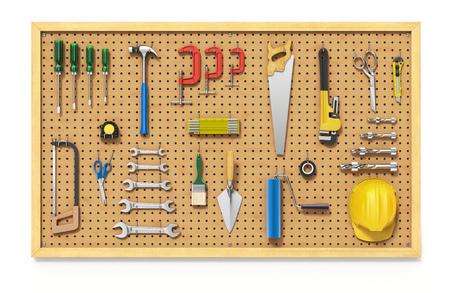 Tools on a Pegboard Standard-Bild