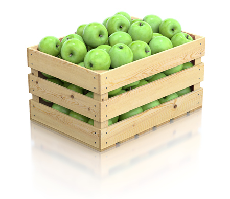 Green apples in the wooden crate photo