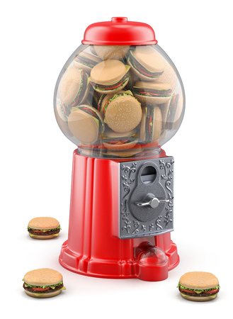 gumball: Gumball machine with hamburger
